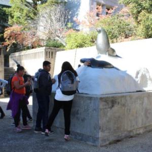 Student picture near statue